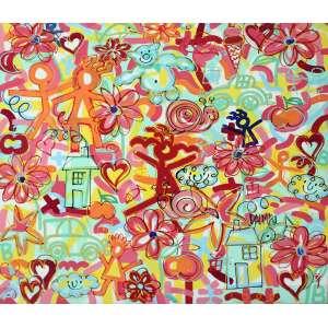 David Dalmau, Figuras e Flores, Acrílica sobre tela, 100 alt X 100 larg (cm), acid