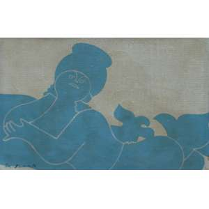 Milton da Costa, Menina e Pássaro, Óleo sobre tela, 16 alt X 22 larg (cm), acid