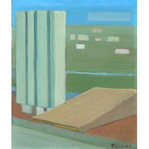Francisco Rebolo, Brasilia, Óleo sobre tela, 34 alt X 27 larg (cm), acid e verso, Ano: 1973