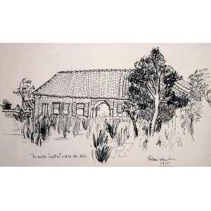 Aldemir Martins, Casa da Fazenda, Nanquim sobre papel, 27 alt X 45 larg (cm), acid, Ano: 1950 -Histórico: Exposição no Museu de Arte Moderna em 1956