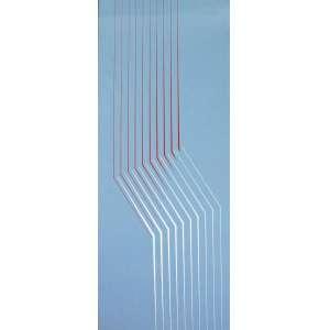 Lothar Charoux, Linhas Vermelha e Branca sobre Cinza,Guache s/ cartão s/ placa 100 alt X 35 larg (cm), acid Com selo do atelier do Artista no Verso.