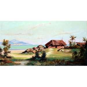 Benedito Calixto, Praia do Boqueirão em Santos, Óleo sobre tela, 30 alt X 54 larg (cm), acie -Histórico: Com certificado e selo do projeto do Artista