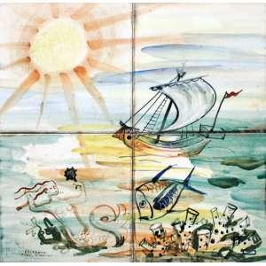 Mário Zanini, Barco a Vela e Sereia, Azulejo, 31 alt X 31 larg (cm), acie