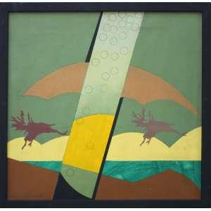 Gilberto Salvador, Voando Encoberto, Óleo sobre tela, 50 alt X 50 larg (cm), ass. no verso, Ano: 1980