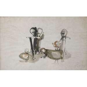 Roberto Magalhães, 4 Figuras, Nanquim, 31 alt X 48 larg (cm), acid, Ano: 1963