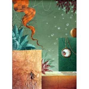 Rony Brandão, Composição Surreal, Óleo sobre tela, 45 alt X 32 larg (cm), acid e verso, Ano: 1973