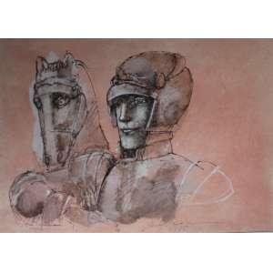 Marcelo Grassmann, Guerreiro e Cavalo, Técnica mista sobre papel, 48 alt X 68 larg (cm), acid, Ano: 1990