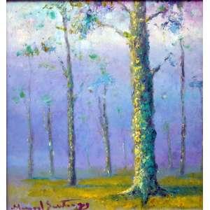 Manoel Santiago, Floresta, Óleo sobre placa, 28 alt X 35 larg (cm), acid e verso