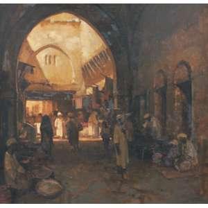 Dario Mecatti, Mercado árabe, Óleo sobre tela, 100 alt X 100 larg (cm), acid