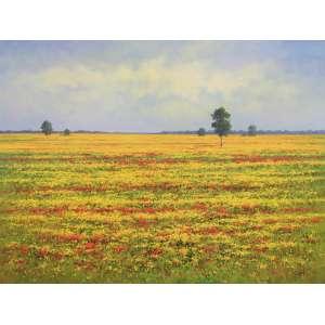 Cândido Oliveira, Campo de Flores Amarelas, Óleo sobre tela, 120 alt X 160 larg (cm), acid, Ano: 2012 -Histórico: com moldura