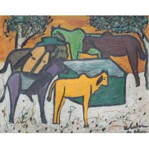 Waldomiro de Deus, Rebanho, Óleo sobre tela, 46 alt X 55 larg (cm), acid e verso, Ano: 1966
