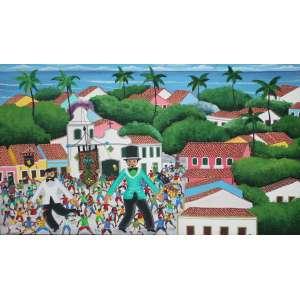 Edmar Fernandes, Carnaval em Olinda, Óleo sobre tela, 60 alt X 91 larg (cm), acid, Ano: 2007 -Histórico: Obra sem Moldura