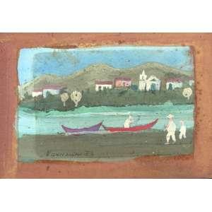 Fúlvio Pennacchi, Vila e Barcos, Óleo sobre madeira, 7 alt X 10 larg (cm), acie, Ano: 1973