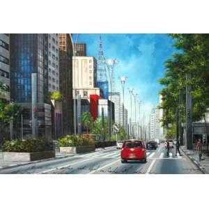 Waldemar Maramgoni, Avenida Paulista, Óleo sobre tela, 100 alt X 150 larg (cm), acid e verso, Ano: 2011