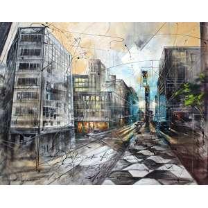 Waldemar Maramgoni, Abstrato Urbano XXII Ruas Paulista, Óleo sobre tela, 80 alt X 100 larg (cm), acid e verso, Ano: 2007