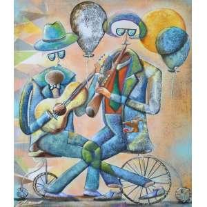 Alemão, Flauta e Violão, Óleo sobre tela, 60 alt X 50 larg (cm), acie e verso, Ano: 2017 -Histórico: Obra sobre o Numero 000891