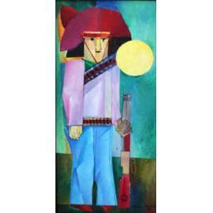 Aldemir Martins, Cangaceiro, Acrílica sobre tela, 46 alt X 21 larg (cm), acid e verso, Ano: 1975