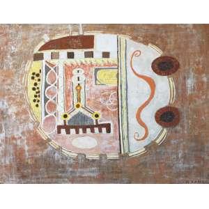 Niobe Xandó, Composição, Óleo sobre tela, 72 alt X 91 larg (cm), acid e verso