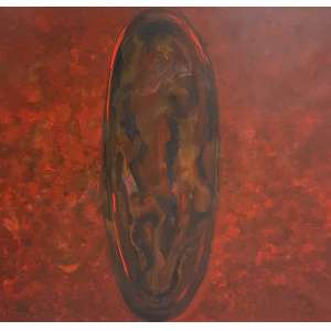 Tomie Ohtake, Composição em vermelho, Acrílica sobre tela, 100 alt X 100 larg (cm), acid e verso, Ano: 1989 -Histórico: Com selo e registro no instituto Tomie Ohtake sob número p89-049