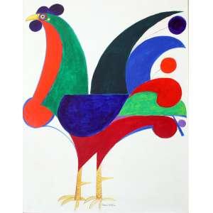Aldemir Martins, Galo, Acrílica sobre tela, 81 alt X 60 larg (cm), aci -Histórico: ( década de 1960) Obra Acompanha Certificado Emitido pelo Instituto Aldemir Martins.