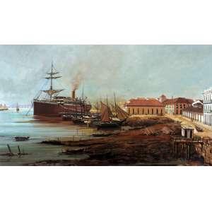Benedito Calixto, Carregamento de Navio no Porto de Santos, Guache Sobre Cartão, 39,7 alt X 66 larg (cm), acid (Participou do Leilão Soraia Cals em 9 e 10 Setembro 2015.)
