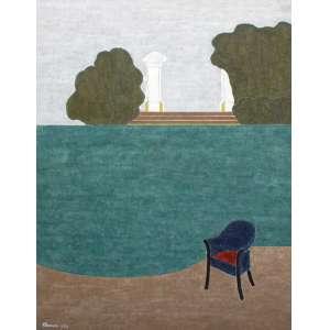 Lore Koch - Eleonore koch, Composição com poltrona azul, Têmpera sobre tela, 116 alt X 89 larg (cm), acie, Ano: 1986