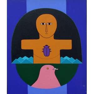 Antônio Maia, Amuleto 41, Acrílica sobre tela, 41 alt X 33 larg (cm), acid e verso, Ano: 1983