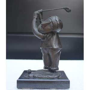 Inos Corradin, Golfista, Escultura em Bronze, 17 alt (cm), ass na peça