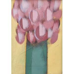Carlos Scliar, Vaso com Rosas, Vinil encerado sobre placa, 50 alt X 40 larg (cm), acid e verso, Ano: 1971