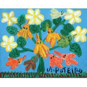 Antônio Poteiro, Arvore com Flores, Óleo sobre tela, 25 alt X 30 larg (cm), acid e verso