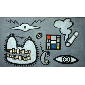 Victor Arruda, Composição, Guache sobre papel, 73 alt X 107 larg (cm), acid, Ano: 1986