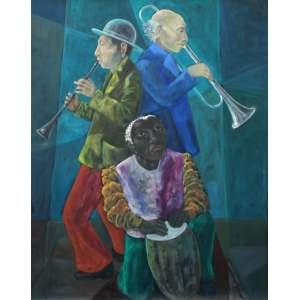 Harry Elsas, Musicos, Óleo sobre tela, 90 alt X 70 larg (cm), acid