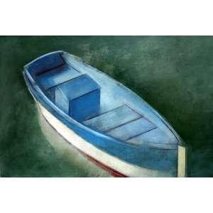 Carlos Scliar, Barco Azul, Vinil s/ Tela colado em Placa, 37 alt X 55 larg (cm), acid, Ano: 1977