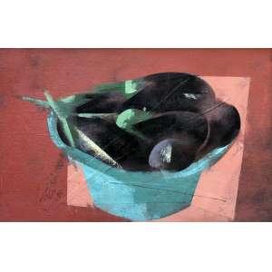 Carlos Scliar, Beringelas na Bacia, Vinil e col encerado s/ tela, 37 alt X 56 larg (cm), acie e verso, Ano: 1986
