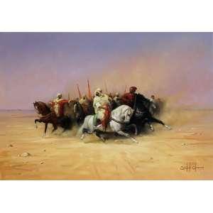 Cândido Oliveira, Cavalgada no Deserto, Óleo sobre tela, 70 alt X 100 larg (cm), acid