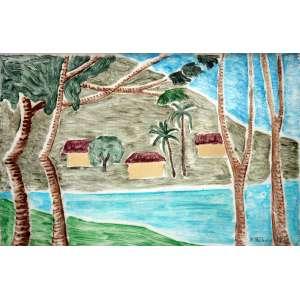 Francisco Rebolo, Paisagem, Aquarela sobre papel, 33 alt X 50 larg (cm), acid, Ano: 1971