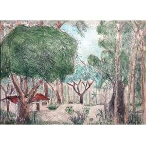 Francisco Rebolo, Paisagem, Técnica mista sobre papel, 25 alt X 33 larg (cm), acid