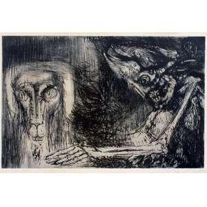 Marcelo Grassmann, Guerreiro com leão, Técnica mista sobre papel, 36 alt X 51 larg (cm), acid, Ano: 1962