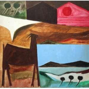 Calazans Neto, Série Itapuã - Cabra e Céus, Óleo sobre tela, 60 alt X 60 larg (cm), acid, Ano: 1983