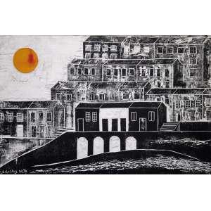 Calazans Neto, Casario com Sol, Óleo sobre madeira, 52 alt X 77 larg (cm), acie e verso, Ano: 1972