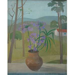 Francisco Rebolo, Vaso de Flores e Paisagem, Óleo sobre tela, 74 alt X 58 larg (cm), acid e verso, Ano: 1975