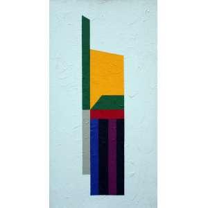 Eduardo Sued, Composição Fundo Branco, Óleo sobre tela, 70 alt X 35 larg (cm), ass no verso, Ano: 2013
