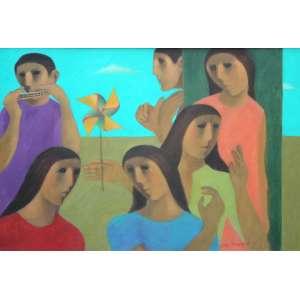 João Quaglia, Cata Vento, Óleo sobre tela, 73 alt X 50 larg (cm), acid, Ano: 1989