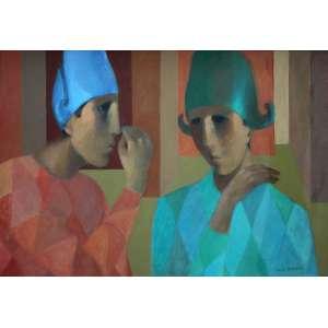 João Quaglia, Dialogo, Óleo sobre tela, 73 alt X 50 larg (cm), acid, Ano: 1991