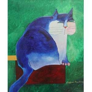 Aldemir Martins, Gato Azul, Acrílica sobre tela, 55 alt X 46 larg (cm), acid( Com numeração do atelie do artista no verso) Acompanha certificado emitido pelo instituto Aldemir Martins)