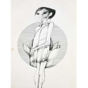 Aldemir Martins, Figura Feminina, Nanquim sobre papel, 50 alt X 35 larg (cm), acid