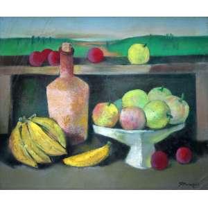 Ado Malagoli, Frutas e Paisagem, Óleo sobre tela, 54 alt X 65 larg (cm), acid