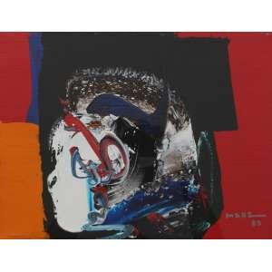 Manabu Mabe, Abstrato vermelho - NYC, Óleo sobre tela, 25 alt X 36 larg (cm), acid e verso, Ano: 1985 -Histórico: Obras executada em NYC em maio de 1985
