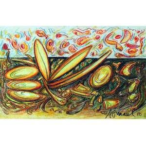 Antonio H Amaral, Composição em Amarelo, Técnica mista sobre papel, 41 alt X 58 larg (cm), acid, Ano: 1980