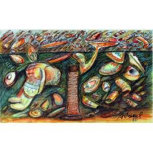 Antonio H Amaral, Composição em Verde, Técnica mista sobre papel, 41 alt X 58 larg (cm), acid, Ano: 1980